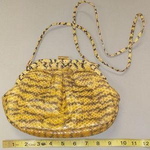Vintage Yellow & Black Snakeskin Shoulder Bag